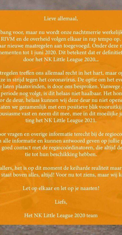 NK- little league gaat niet door! vanwege corona virus